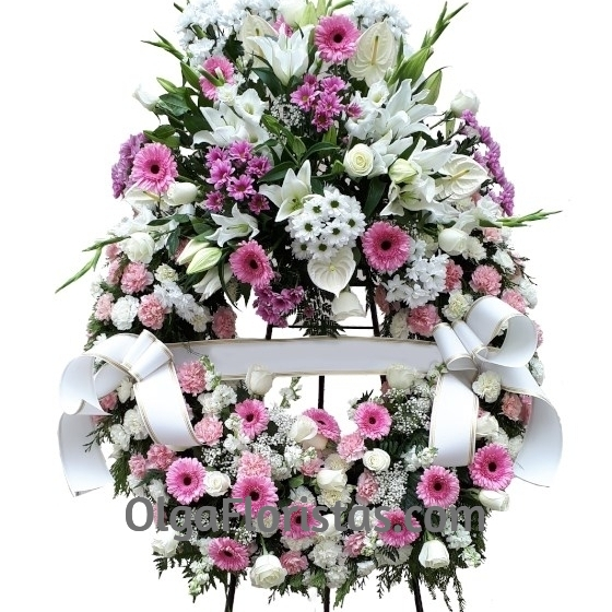 Corona Funeraria Rosa Variada