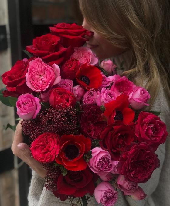 Flores rojas para cumpleaños